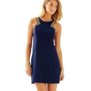 Lilly Pulitzer Navy Beaded Holiday Dress Size 6